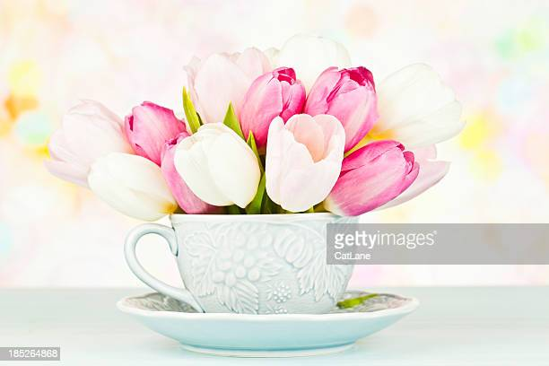 Teacup Filled with Tulips