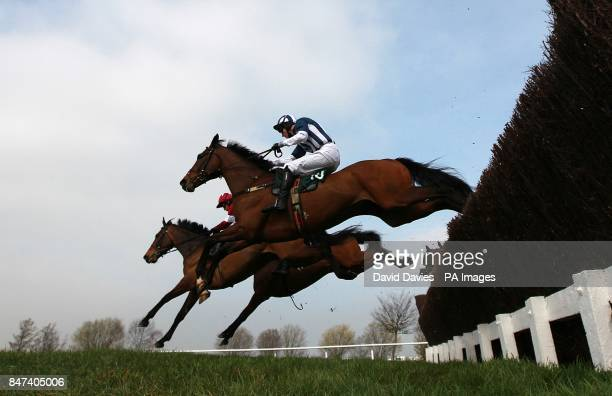 Teaforthree ridden by J T McNamara clears a fence on the way to winning the Diamond Jubilee National Hunt Chase on Ladies Day, during the Cheltenham...