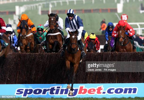 Teaforthree ridden by J T McNamara on his way to winning the Diamond Jubilee National Hunt Steeple Chase during day two of the 2012 Cheltenham...