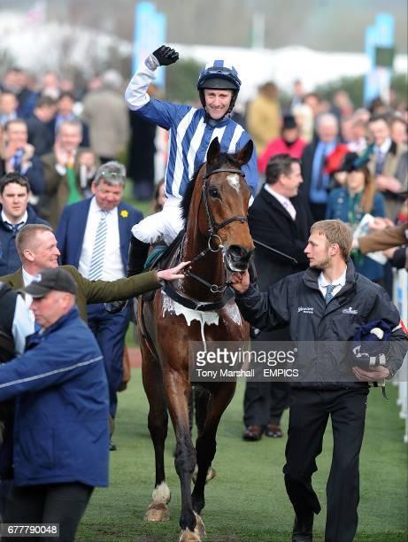 Teaforthree ridden by jockey John Thomas McNamara after winning the Diamond Jubilee National Hunt Chase during the Cheltenham Festival.