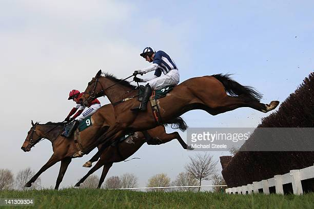 Teaforthree ridden by JT McNamara on his way to winning the Diamond Jubilee National Hunt steeple chase race at Cheltenham Racecourse on March 14,...