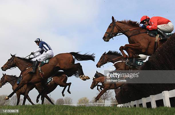 Teaforthree ridden by JT McNamara on his way to winning the Diamond Jubilee National Hunt steeple chase race from Harry The Viking ridden by WBiddick...