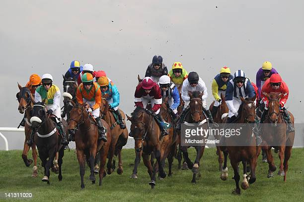 Teaforthree ridden by JT McNamara on his way to winning the Diamond Jubilee National Hunt steeple chase race from Harry The Viking ridden by...