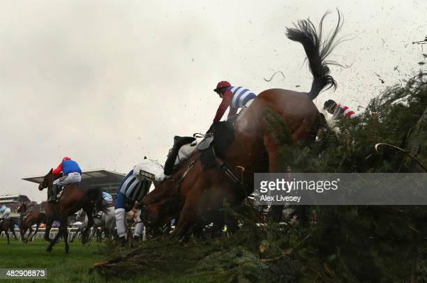 Teaforthree ridden by Nick Scholfield falls after jumping The Chair during the Crabbie's Grand National Steeple Chase at Aintree Racecourse on April...
