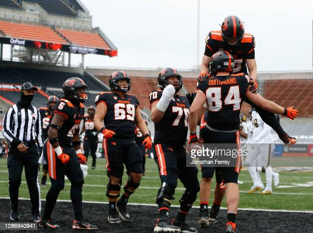 Teagan Quitoriano of the Oregon State Beavers celebrates a touchdown catch against the California Golden Bears at Reser Stadium on November 21, 2020...