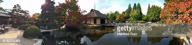 Teahouse in the Japanese garden of Park Planten un Blomen Hamburg Germany