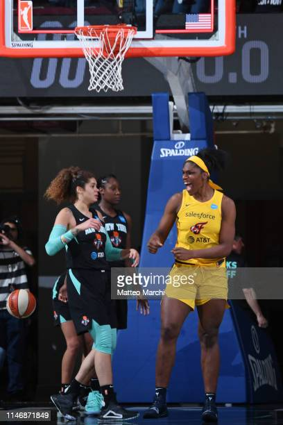 Teaira McCowan of the Indiana Fever celebrates after making a last second shot to defeat the New York Liberty on May 24, 2019 at the Westchester...