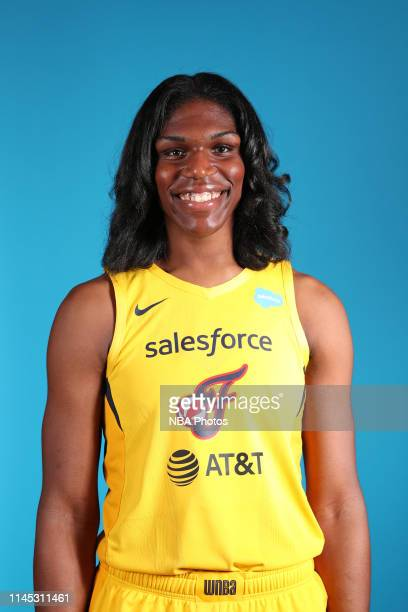 Teaira McCowan of the Indiana Fever poses for a head shot during WNBA media day at Bankers Life Fieldhouse on May 20, 2019 in Indianapolis, Indiana....