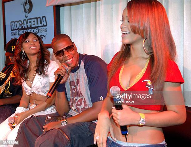 Teairra Mari JayZ and Rihanna answer questions at the Shawn 'Jay Z' Carter Hosts Teen People Listening Lounge at the Canal Room on July 20 2005 in...