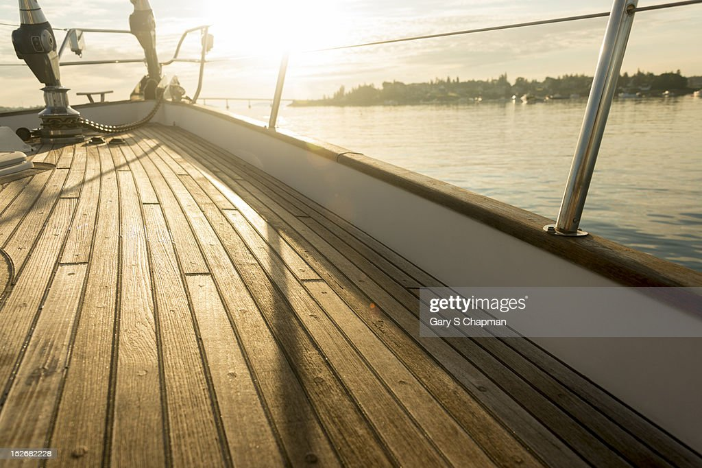 Teak deck of 62 ft sailboat : Stock-Foto
