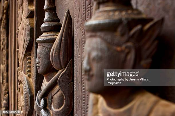 teak wood carving, shwe in bin monastery - チーク ストックフォトと画像