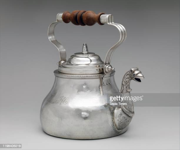 Teakettle 171020 Made in New York New York United States American Silver Overall 10 1/8 x 10 5/8 in 47 oz 13 dwt Silver Cornelius Kierstede As in...