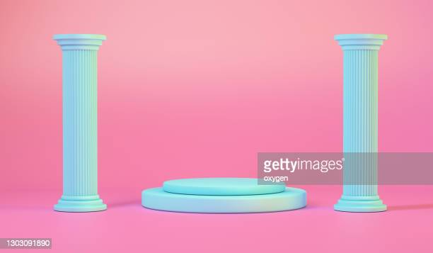 teal ancient column and pedestal on pink background, 3d renderin - 柱 ストックフォトと画像