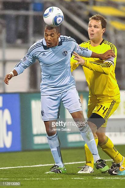 Teal Bunbury of Sporting Kansas City controls the ball in front of Chad Marshall of the Columbus Crew on April 16 2011 at Crew Stadium in Columbus...