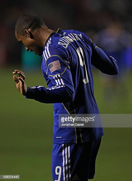 Teal Bunbury of the Kansas City Wizards does a dance in celebration of his 2nd half goal against the Chicago Fire in an MLS match on October 12 2010...