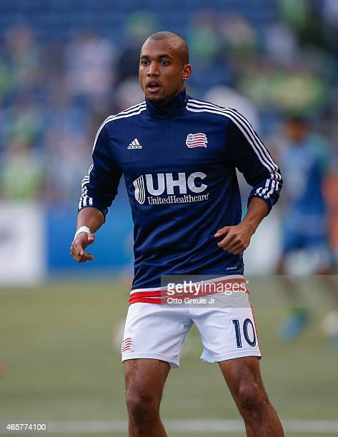Teal Bunbury of the New England Revolution warms up prior to the match against the Seattle Sounders FC at CenturyLink Field on March 8 2015 in...