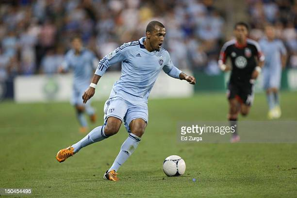 Teal Bunbury of the Sporting Kansas City works the ball against the DC United at Livestrong Sporting Park on August 11 2012 in Kansas City Kansas