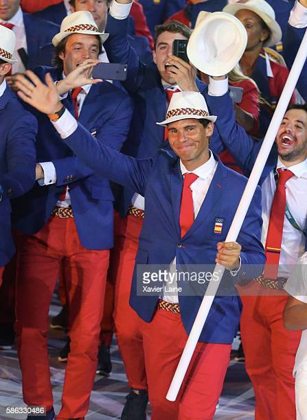 Teal leader of Spain Rafael Nadal during the Olympic Games opening ceremony at Maracana Stadium on August 5 2016 in Rio de Janeiro Brazil
