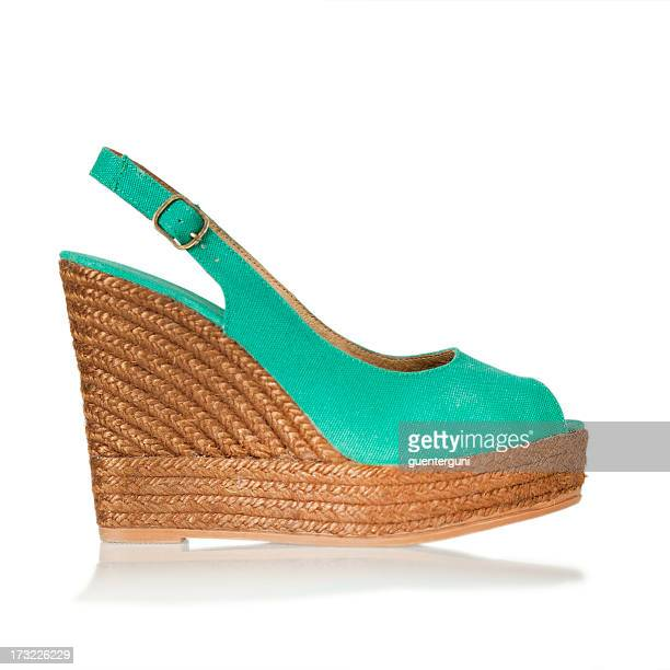 Teal peep-toe, sling-back wedge with natural material