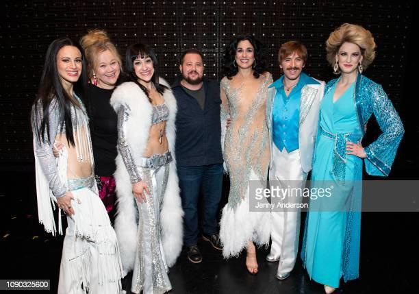 Teal Wicks Caroline Rhea Micaela Diamond Chaz Bono Stephanie J Block Jarrod Spector and Angel Reda backstage at The Cher Show on Broadway at the Neil...