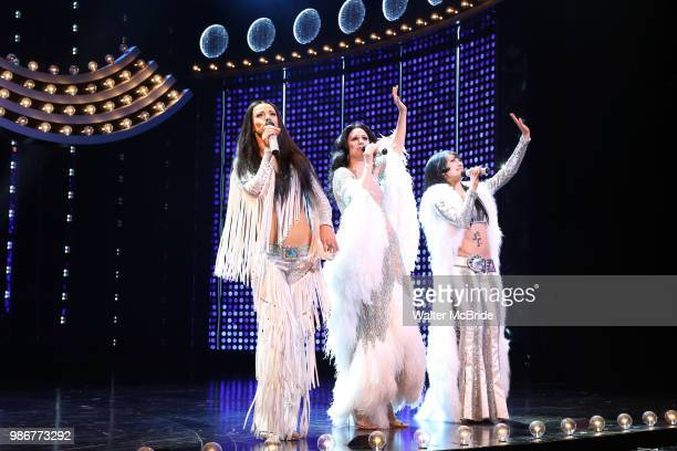 Teal Wicks Stephanie J Block and Micaela Diamond during the PreBroadway premiere opening night curtain call for 'The Cher Show' at the Oriental...