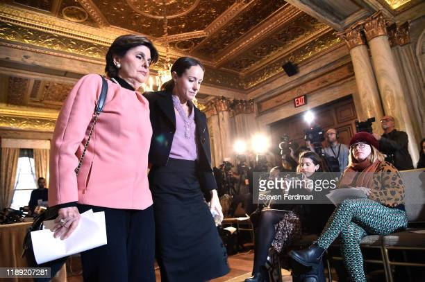 Teala Davies leaves a press conference with Gloria Allred as a lawsuit is filed against Jeffrey Epstein's Estate at Lotte New York Palace on November...