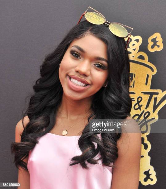 Teala Dunn arrives at the 2017 MTV Movie And TV Awards at The Shrine Auditorium on May 7 2017 in Los Angeles California