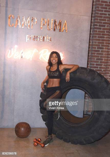 Teala Dunn attends PUMA Hosts CAMP PUMA To Launch Their Newest Women's Collection Velvet Rope at Goya Studios on August 3 2017 in Los Angeles...