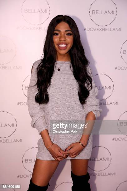 Teala Dunn attends the Dove x BELLAMI Collection launch party hosted by Dove Cameron and BELLAMI Hair at Unici Casa Gallery on December 2 2017 in...