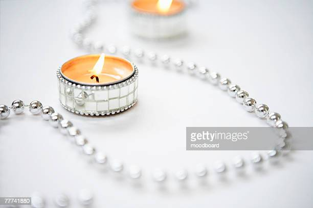 Tealight Candles and Silver Garland