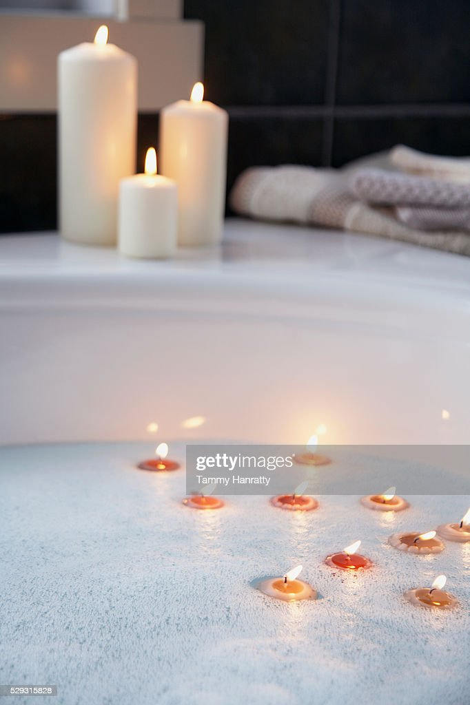 Tealights And Votive Candles In Bathroom : Stock Photo
