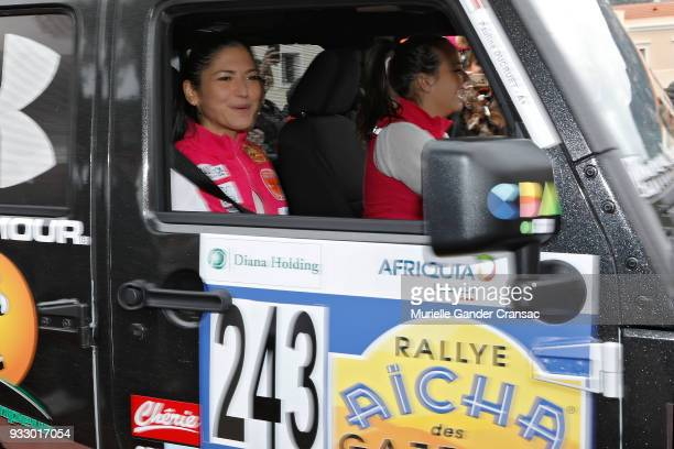 Team 243 Schanel Bakkouche and Pauline Ducruet attend the 28th 'Rallye Aicha Des Gazelles Du Maroc' on March 17 2018 in Monaco Monaco