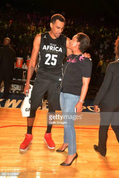 NBA team Africa Captain Thabo Sefolosha with Nozuko Mbalula during the NBA Africa Game 2017 at Ticketpro Dome on August 05 2017 in Johannesburg South...