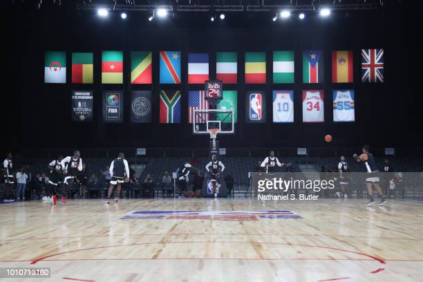 Team Africa during practice prior to the NBA Africa Game 2018 as part of the Basketball Without Boarders Africa program on August 4, 2018 at Sun...