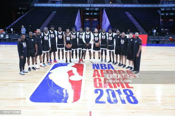 Team Africa takes a group photo during practice prior to the NBA Africa Game 2018 as part of the Basketball Without Boarders Africa program on August...