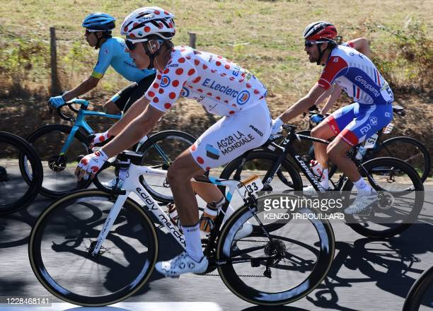 Team AG2R La Mondiale rider France's Benoit Cosnefroy wearing the best climber's polka dot jersey rides during the 14th stage of the 107th edition of...