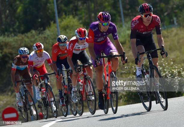 Team AG2R La Mondiale rider Switzerland's Silvan Dillier, Team Cofidis rider France's Stephane Rossetto, Team Bahrain rider Slovenia's Luka Pibernik,...