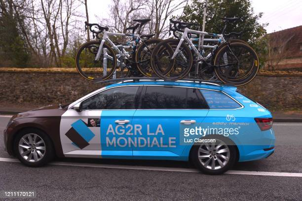 Team AG2R La Mondiale tributes to Nicolas Portal of France Coach and ExProcyclist who died March 3 2020 / Car / Detail view / during the 78th Paris...