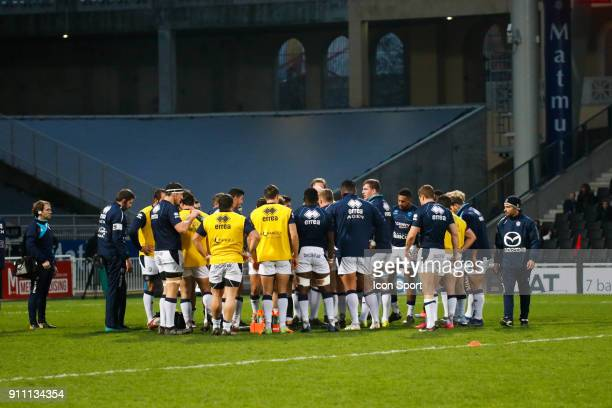 Team Agen during the Top 14 match between Lyon and Agen at Gerland Stadium on January 27 2018 in Lyon France