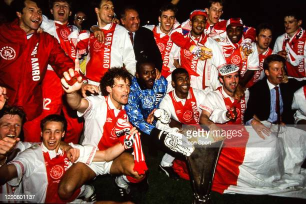 Team Ajax Amsterdam celebrate the victory with the trophy during the Second Leg UEFA Final Cup match between Ajax Amsterdam and Torino at Olympisch...