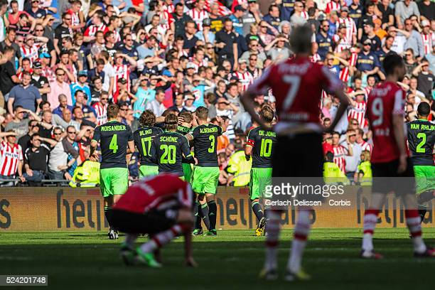 Team AJAX cheering after scoring the 1-2 during the match PSV-AJAX played in Eindhoven on April 14th 2013.