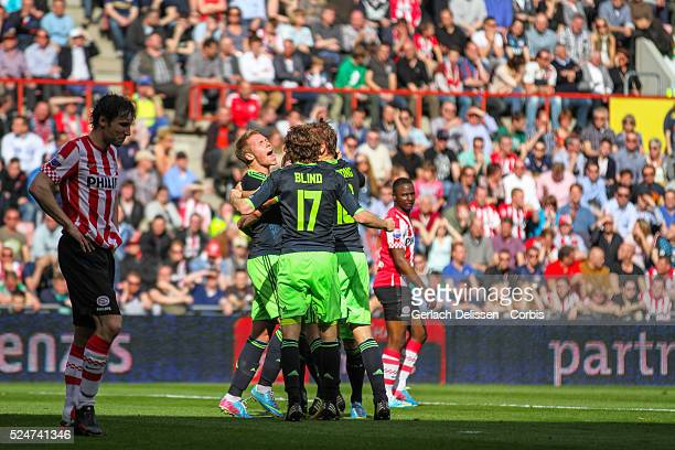 Team AJAX cheers as the just scored the 0-1 goal during the match PSV-AJAX played in Eindhoven on April 14th 2013.