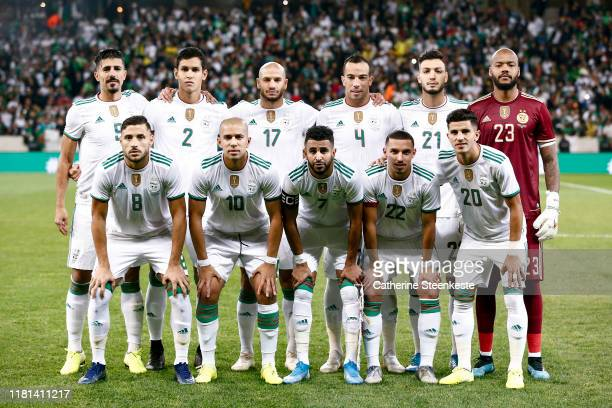 Team Algeria poses for a photo before the International Friendly game between Algeria and Colombia at Stade Pierre Mauroy on October 15, 2019 in...