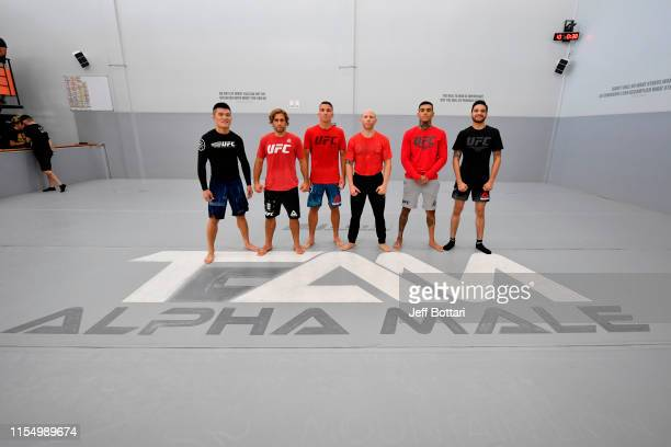 Team Alpha Male fighters Pingyuan Liu of China, Urijah Faber, Darren Elkins, Josh Emmett, Andre Fili and Benito Lopez pose for a group photo during...