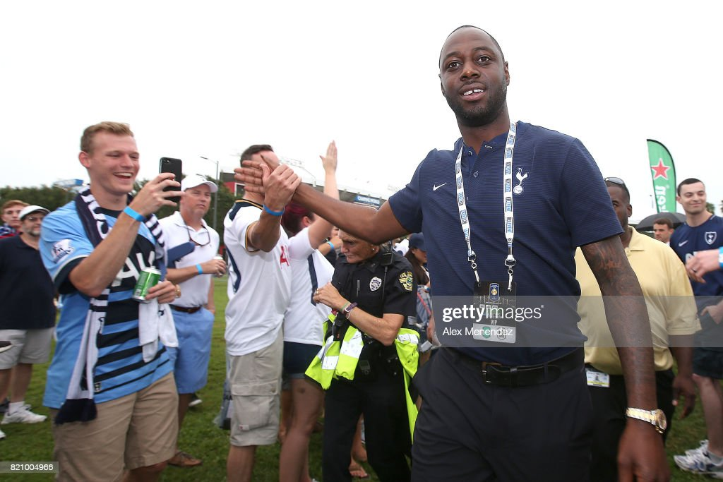 Team Ambassador Ledley King meets with fans prior to the International Champions Cup 2017 match between Paris Saint-Germain and Tottenham Hotspur at Camping World Stadium on July 22, 2017 in Orlando, Florida.