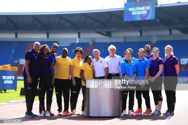 Team ambassadors and representatives pose for a photo with IAAF President Sebastian Coe and LOC Czech Athletic Federation President Libor Varhanik...