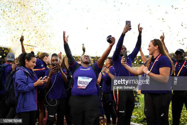 Team Americas celebrate winning the Continental Cup during day two of the IAAF Continental Cup at Mestsky Stadium on September 9 2018 in Ostrava...