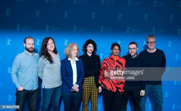 Team and BritishSri Lankan rapper singersongwriter MIA and director Steve Loveridge pose during a photocall before a press conference to present the...