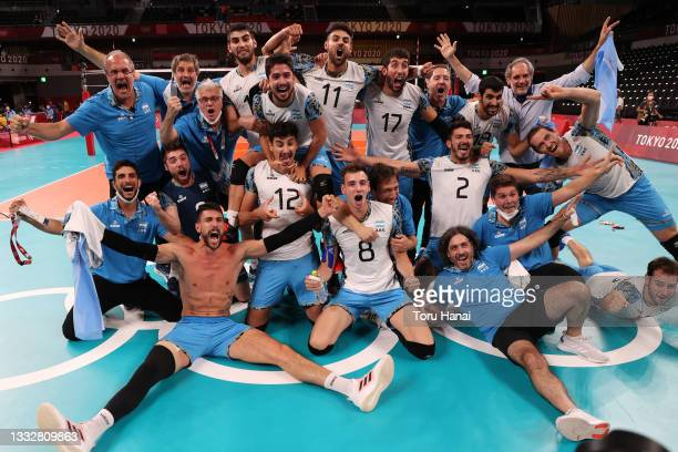 Team Argentina celebrates after defeating Team Brazil during the Men's Bronze Medal Match on day fifteen of the Tokyo 2020 Olympic Games at Ariake...