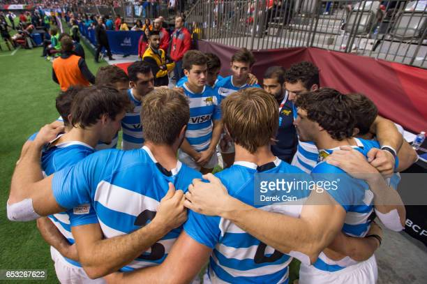 Team Argentina huddles after losing their match to New Zealand during day 2 of the 2017 Canada Sevens Rugby Tournament on March 12 2017 in Vancouver...